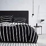 Juego de ropa de cama de 135 x 200 cm, diseño de rayas, color blanco y negro, 2 piezas, con cremallera, diseño geométrico de rayas, ropa de cama moderna reversible para jóvenes y niños