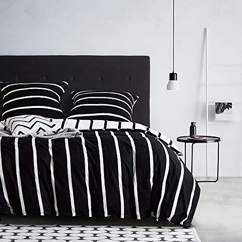 Bettwäsche 135X200 4teilig Gestreift Bettbezug Schwarz Weiß Wendebettwäsche Geometrisches Muster Streifen Microfaser Bettwäscheset Modern Exztra Weich Bettgarnitur mit Reißverschluss