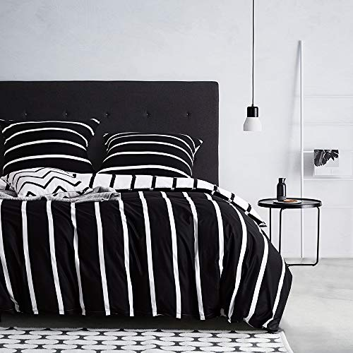 Boqingzhu Bettwäsche 135x200cm Gestreift Streifen Schwarz Weiß Muster Modern Wendebettwäsche Set Microfaser Bettbezug und Kissenbezug 80x80cm mit Reißverschluss
