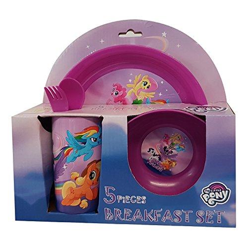 Juego de desayuno de 5 piezas para niños, de la marca My Little Pony (Mi Pequeño Poni), para desayunar, comer o cenar, objetos sin Bisfenol A
