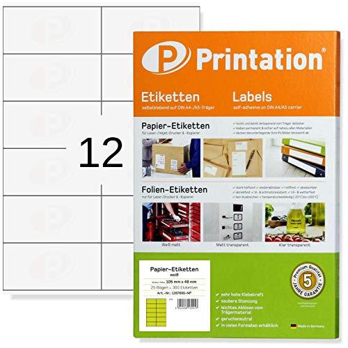 Printation, etichette di qualità universale, 105 x 48 mm, autoadesive, bianche, stampabili, 25 DIN A4, fogli da 2 x 6, 105 x 48, 300 etichette, 3424 6175 4457 462