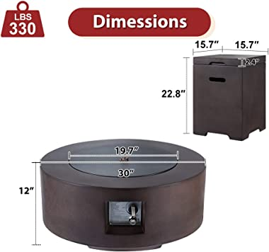 ECOTOUGE 30In Outdoor Propane Fire Pit Gas Table 50,000 BTU Auto-Ignition Gas Firepit and Tank Holder w/ Weather-Resistant Pi
