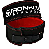 Iron Bull Strength PowerLifting Lever Belt - 13mm Power Weight Belt - 4-inch Wide - Heavy Duty for Extreme Weight Lifting (X-Large, Black/Red)