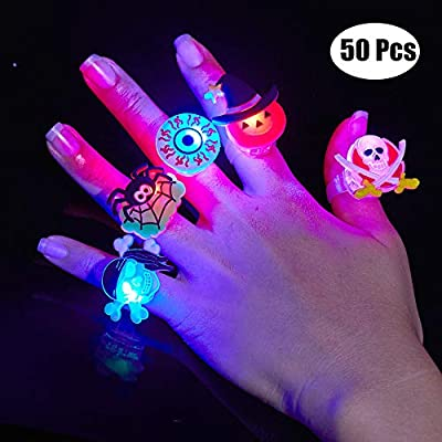 BUDI 50Pc Halloween Party Favors LED Flash Rings Halloween Gifts for Kids and Adults Halloween Treats Non Candy Gift Bag Fillers Great Assortment of 50