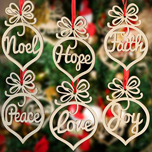Bememo 30 Pieces Christmas Wooden Hollow Ornaments Xmas Tree Hanging Tags Crafts Pendant Decor Christmas Holiday Wedding Decorations