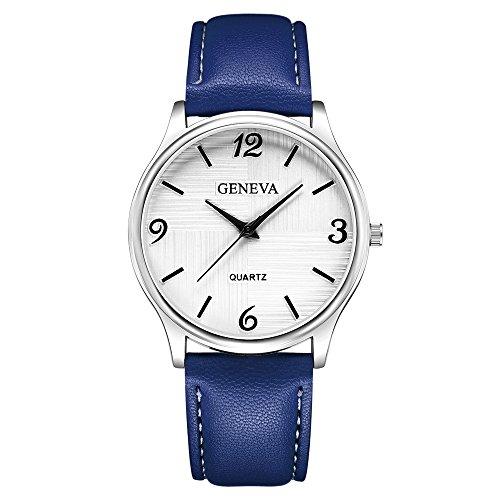Herren Armbanduhr Braun Schwarz PU Leder Blau Glas Quarz Uhr mit Batterie Weiß Schwarz Zifferblatt 2403Blau