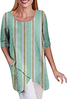 TINGZI Women Tees Stripe Printing Plus Size Irregularity Half Sleeve Tops Loose Fit Comfy Tunic Blouse