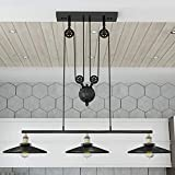 WINSOON Industrial Vintage Chandeliers Pulley 3 Light Pendant Lighting...