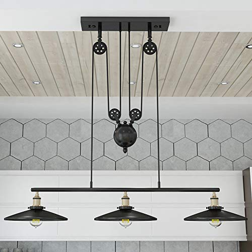WINSOON Industrial Vintage Chandeliers Pulley 3 Light Pendant Lighting Fixture for Pool Table Farmhouse Kitchen Island Bar Retro Hanging Lamp 3 Heads Black Painted Georgia