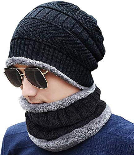 PinKit 2 Pieces Winter Beanie Cap Neck Scarf Set Warm Knitted Fur Lined For Men & Women (Black) - (Black)