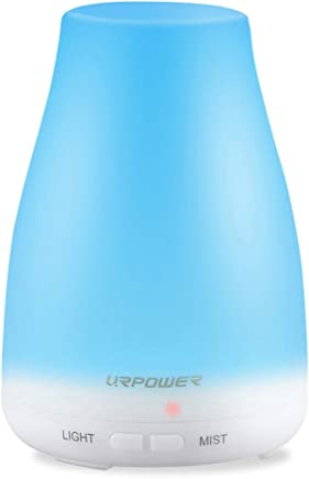 URPOWER 2nd Version Essential Oil Diffuser,Aroma Essential Oil Cool Mist Humidifier with Adjustable Mist Mode,Waterless Auto Shut-off and 7 Color LED Lights Changing for Home Office Baby