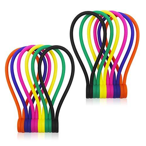 Smart&Cool Wiederverwendbare Kabelbinder/Silikon-Spiralbinder mit starkem Magnet zum Bündeln und Organisieren, vielseitig verwendbar oder einfach nur für Spaß, mehrfarbig (12 Stück)
