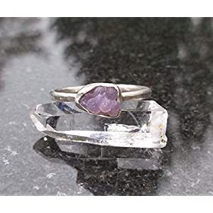 Grape Agate Stackable Crystal Ring Set in Sterling Silver