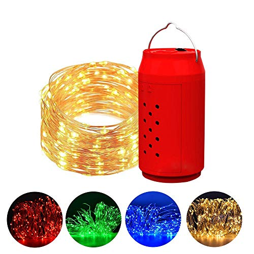 BIOBEY Fairy String Lights, with Timing Function 10M 100 LED Waterproof Salt Water Powered Four Colors Copper Wire Light for Easter Christmas Wedding Party Garden Home Decoration