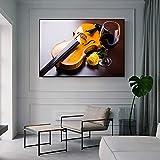 HGlSG Moderne Mur Art Décoratif Impressions sur Toile Romantique Violon Rose Et Rouge Vin Toile Art Peintures Image Réaliste pour Cuisine Chambre A2 60x80 cm