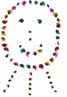 Livecity 100Pcs Adhesive Wiggly Googly Eyes with Eyelash DIY Craft Accessory Mixed Color size 2cm