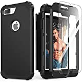iPhone 8 Plus Case, iPhone 7 Plus Case with Tempered Glass Screen Protector, IDweel 3 in 1 Shockproof Slim Hybrid Heavy Duty Hard PC Cover Soft Silicone Rugged Bumper Full Body Case, Black