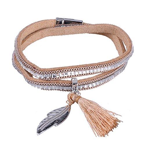 KELITCH Armbänder für Damen 2 Kreis Magnetismus Knopf Khaki Leder Armband Ethno mit Blatt Quaste Anhänger