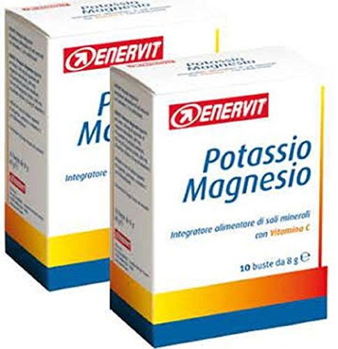 ENERVIT Integratore Magnesio Potassio Integratore Sali Minerali Vitamina C, Bustine, Standard, Taglia unica, 20 Unità