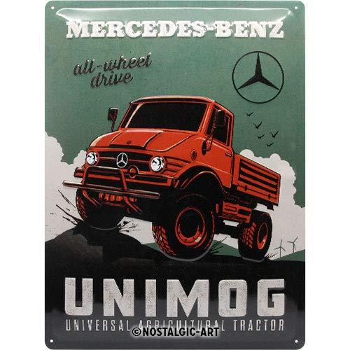 Nostalgic-Art Retro Blechschild Mercedes-Benz – Unimog – Geschenk-Idee für Auto Accessoires Fans, aus Metall, Vintage-Dekoration, 30 x 40 cm