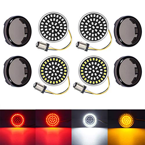 PBYMT 1157 Front Rear Turn Signal Light Kit LED SMD Bulb Smoke Lens Cover Compatible for Harley Dyna Softail Touring Street Glide Road King 1986-2020