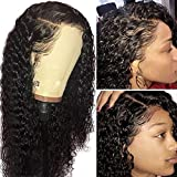 10A 360 Lace Frontal Human Hair Wigs 150% Density Pre Plucked and Bleached Knots with Baby Hair Free Part Curly Lace Front Wigs Natural Color (14 inch)