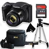 Canon Powershot SX420 is 20 MP Wi-Fi Digital Camera with 42x Zoom (Black) Bundle Includes 64GB Memory Card, Padded Camera Bag, 50 inch Tripod, Ultra Gentle HeroFiber Cloth