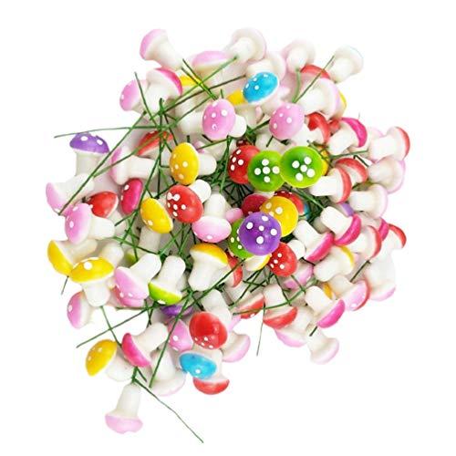 VOSAREA 60 Piezas Mini Espuma de Hongo en Miniatura Hada Jardín Ornamento Macetas Bonsai Micro Paisaje Color Hongo Decoración Color Mezclado