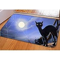 スーパー怖い魔女吸血鬼スパイダーマン黒猫バットスケルトンプリントラグカーペットハロウィーンの装飾屋内ホームリビングルームの寝室 80x50cm