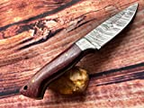 Perkin 7 Inches Damascus Steel Knife Hunting Knife With Sheath FD200