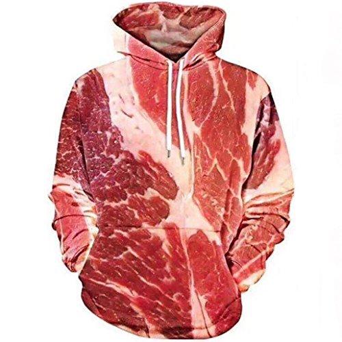 TWIFER Unisex 3D Printed Raw Fleisch Pullover Langarm mit Kapuze Sweatshirt Bluse (M, Rot)