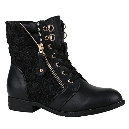Stylische Damen Stiefeletten Worker Boots Knöchelhohe Stiefel Gesteppt Damen Leder-Optik Zipper Schuhe 144305 Schwarz Zipper 39 Flandell