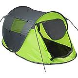 TecTake Grande Tente instantanée 2 Personnes Pliante Pop up + Housse de Transport + Set Sardines et Cordes - diverses Couleurs au Choix - (Vert-Gris | no. 401675)