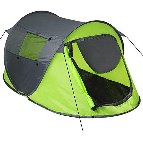 TecTake Grande Tente instantanée 2 Personnes Pliante Pop up + Housse de Transport + Set Sardines et Cordes - diverses Couleurs au Choix - (Vert-Gris   no. 401675)