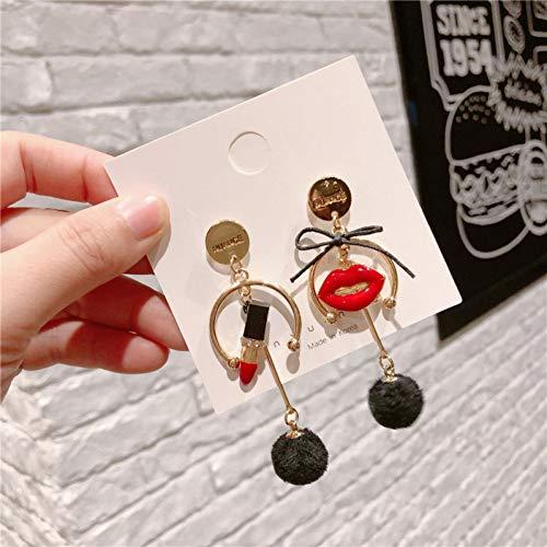 ZHQIC Mode Merk Lippenstift Lippen Oorbellen Haar Bal Hanger Asymmetrische Oorbel Gift Voor Vrouw
