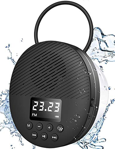 Shower Radio Speaker with Bluetooth 5.0, AGPTEK Waterproof Wireless Bathroom FM with Suction Cup 12H Long Playback Time, Lanyard, LCD Screen Display, Handsfree Calling, SD Card Playback Black