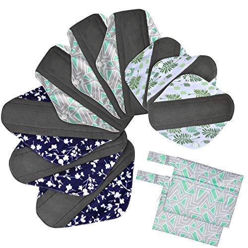 Viedouce Slipeinlagen Waschbar,Super Saugfähiges Bambus-Hygienetuch,Wiederverwendbare Binden,Damenbinden Pads mit 2 Wasserdichten Aufbewahrungsbeuteln (S * 3pcs + M *3pcs + L * 3pcs, color-01)