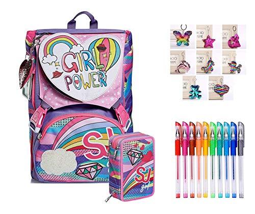 SEVEN. Schoolpack Zaino SJ Gang Pastel Rainbow Scuola Estensibile Flip System Girl Ragazza Bambina + Astuccio 3 Piani Completo + Omaggio portachiave girabrilla + Confezione 10 Penne Colorate
