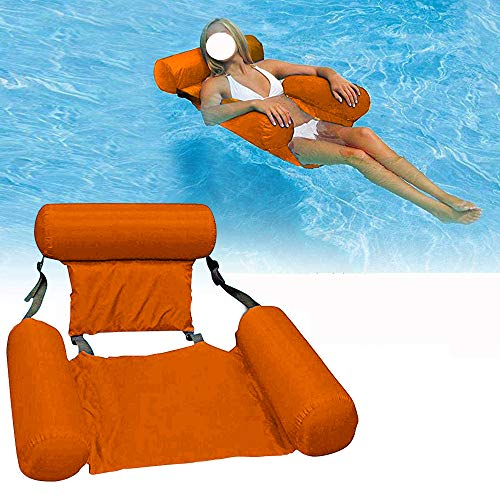 Water Chair Adults Inflatable Swimming Pool Float Lounge Foldable Floating Recliner Lounger Portable Lazy Air Sofa Floating Chair for Swimming Ocean Lake Travel Sunbathing (Orange, 1 Pcs)