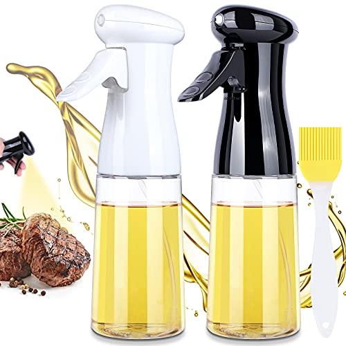JUOIFIP 2 Pack Oil Sprayer for Cooking, 200ML Olive Oil Sprayer, Versatile Oil Spray Bottle, Food Grade Plastic Olive Oil Dispenser Mister for Salad, BBQ, Backing, Air Fryer, Roasting, Kitchen