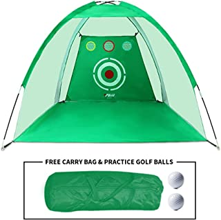 PGM Golf Net / 10x6x6.6 feet Practice Net/Practice Hitting and Chipping Indoor and Outdoor/Portable Golf Training Aids with Carry Bag and Golf Balls