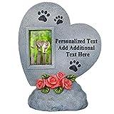 PETAFLOP Personalisierte Gedenksteine Gedenktafel für Haustiere im Formen Herz mit Bilderrahmen Hochformat und Wunschtext