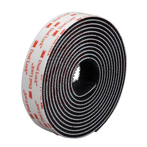 Tout Simplement Le Noir 25 mm de Large ~ 3 m Dual Lock Bande, Coussinets et carrés ~ Sj3550 ~ très Haute Bond et aux intempéries refermable Fermeture, Noir