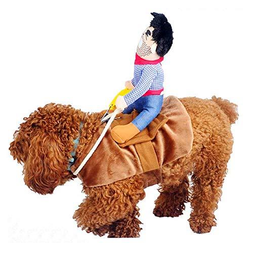 Hotumn Hund Kostüm Haustier Kostüm Pet Anzug Cowboy Rider Stil Hund Halloween-Kostüm Pet Funny Kleidung, L