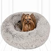 Friends Forever Donut Cat Bed, Faux Fur Dog Beds for Medium Small Dogs - Self Warming Indoor Round Pillow Cuddler Pink & Tan & Grey & Ivory
