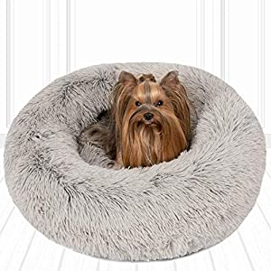 Friends Forever Coco Cat Bed, Faux Fur Dog Beds for Medium Small Dogs – Self Warming Indoor Round Pillow Cuddler, Small, Grey
