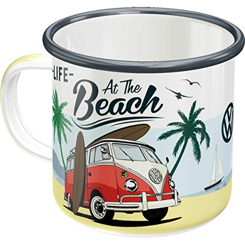 Nostalgic-Art 43218 Retro Emaille-Becher Volkswagen Bulli T1 – Beach – Geschenk-Idee für VW Bus Fans, Camping-Tasse, 360 milliliters, Vintage Design