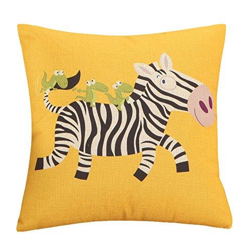 MF 45x45cm Cartoon Animal Dog Pattern Cushion Covers For Home Sofa Decor Children Room Decorative (Zebra)