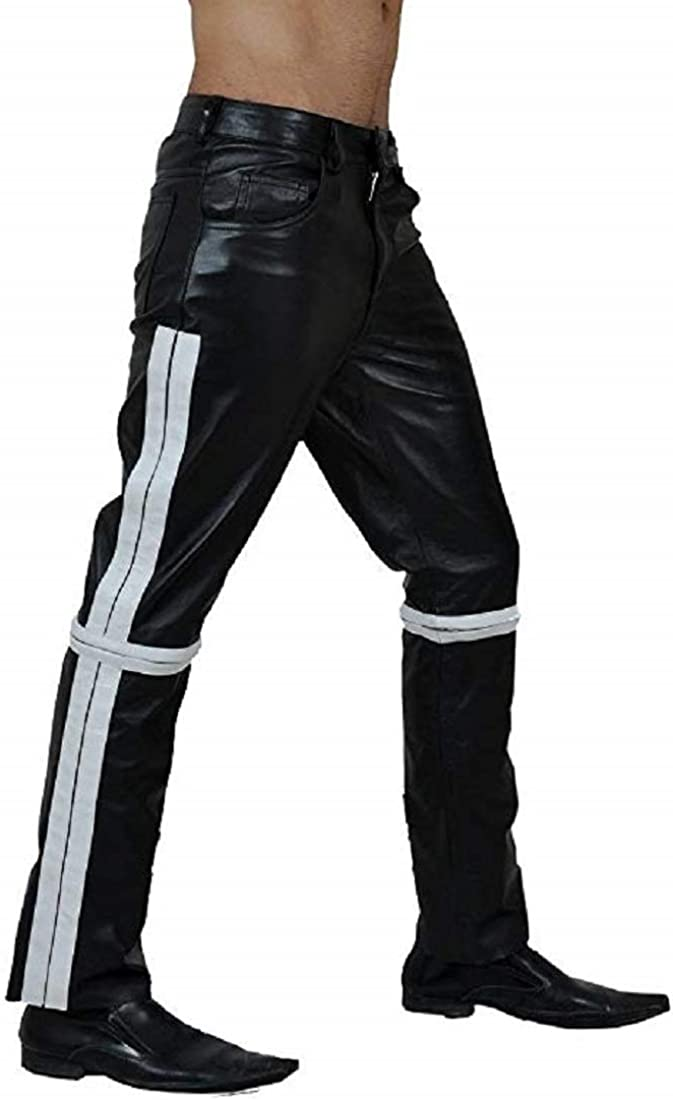 Mens Real Black Cow Leather Ranking TOP9 Pants Police Jeans Bikers Trou 70% OFF Outlet