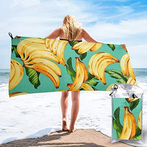 Toallas de Playa de Antiarena de Microfibra para Hombre Mujer, 130x80cm, Toallas Baño Calidad Gigante Secado Rapido para Piscina, Manta Playa, Toalla Yoga Deporte Gimnasio,Plátano de Frutas
